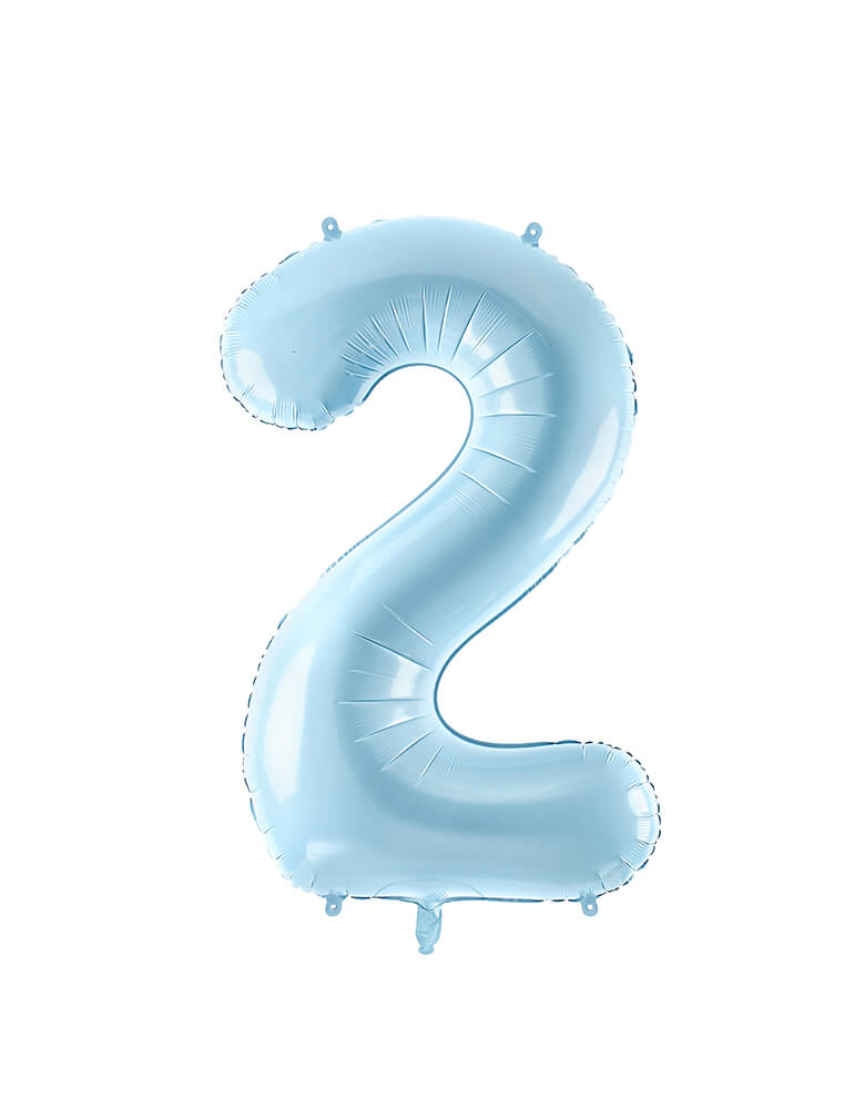 Party Deco - 34 inch - Large Number Pastel Blue Foil Mylar Balloon - Number 2 balloon
