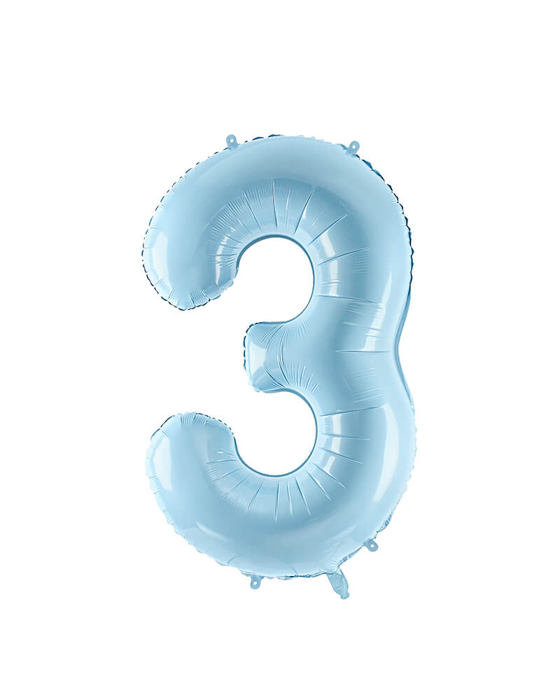 Party Deco - 34 inch - Large Number Pastel Blue Foil Mylar Balloon - Number 3 balloon