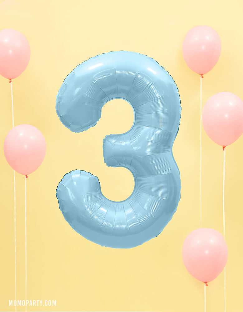 Party Deco -  34 inch - Large Number Pastel Blue Foil Mylar Balloon - Number 3 floating in the air with pastel pink latex balloon around for a 3 years old birthday party or 3rd anniversary celebration