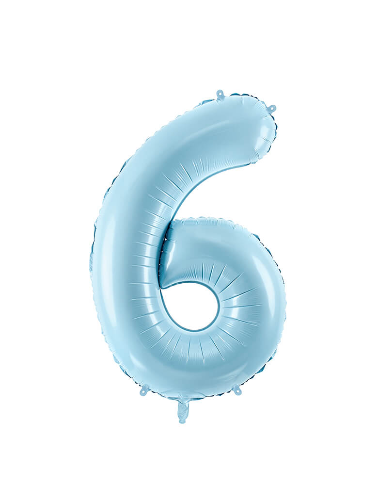 Party Deco - 34 inch - Large Number Pastel Blue Foil Mylar Balloon - Number 6 balloon