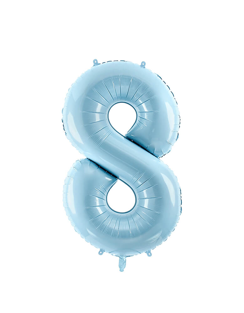 Party Deco - 34 inch - Large Number Pastel Blue Foil Mylar Balloon - Number 8 balloon