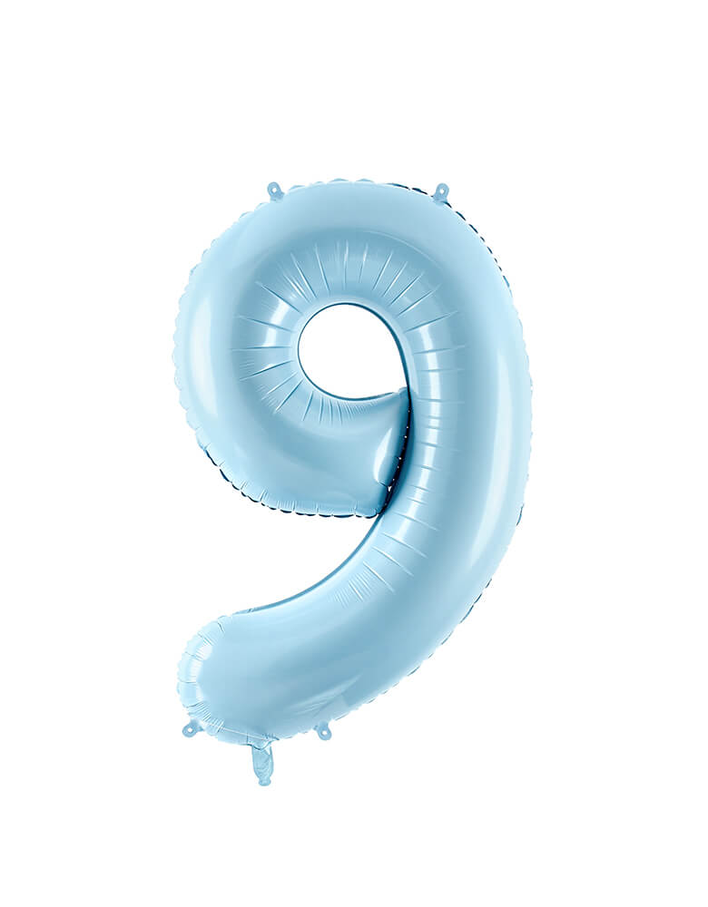 Party Deco - 34 inch - Large Number Pastel Blue Foil Mylar Balloon - Number 9 balloon