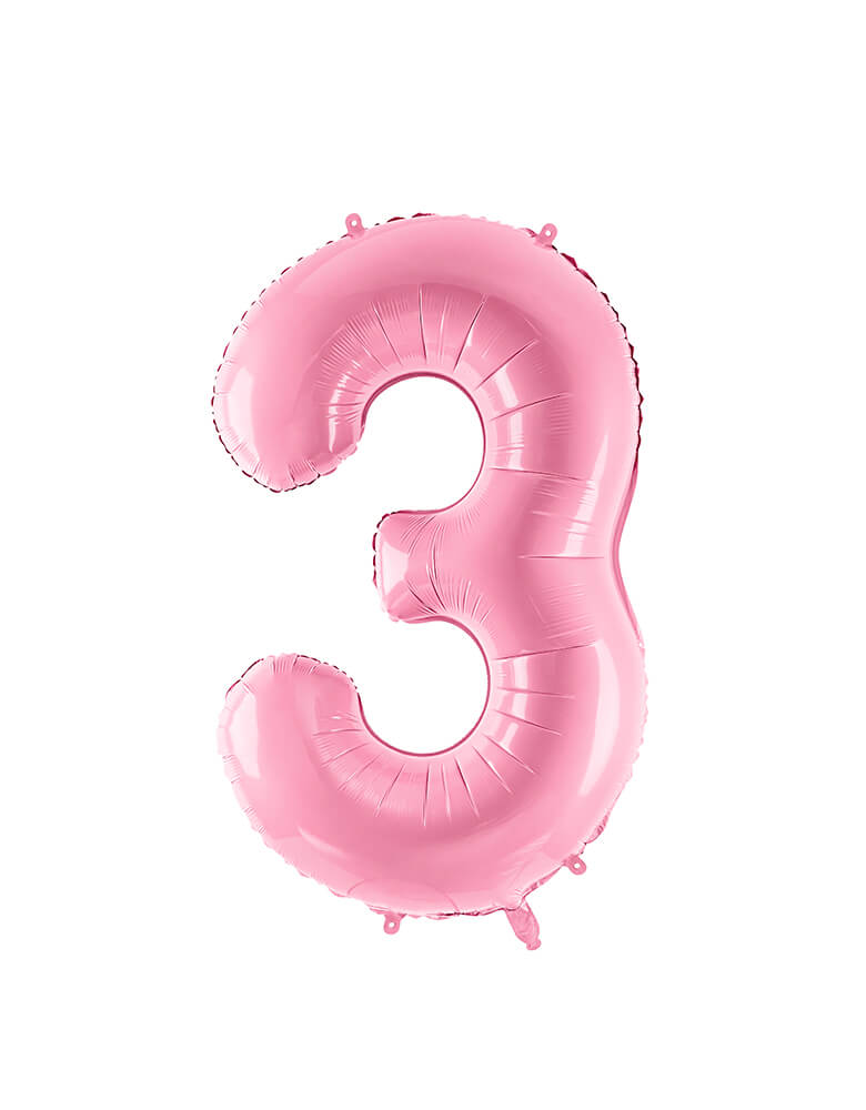 Party Deco - 34 inch - Large Number Pastel Pink Foil Mylar Balloon - Number 3 balloon