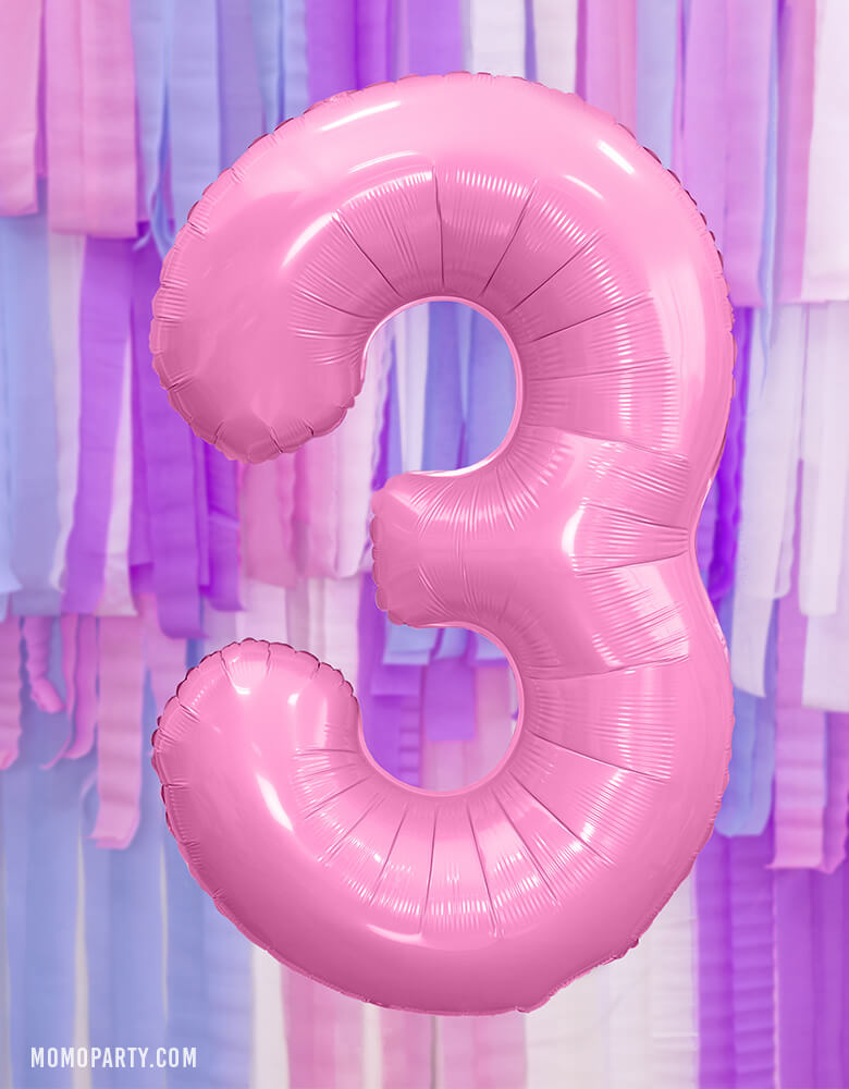 Party Deco - 34 inch - Large Number Pastel Pink Foil Mylar Balloon - Number 3 balloon floating in front of a pastel pink, blue and purple color paper streamer for a girls 3rd years birthday party, also prefect for a unicorn themed birthday party, mermaid birthday party, princess party, tea party