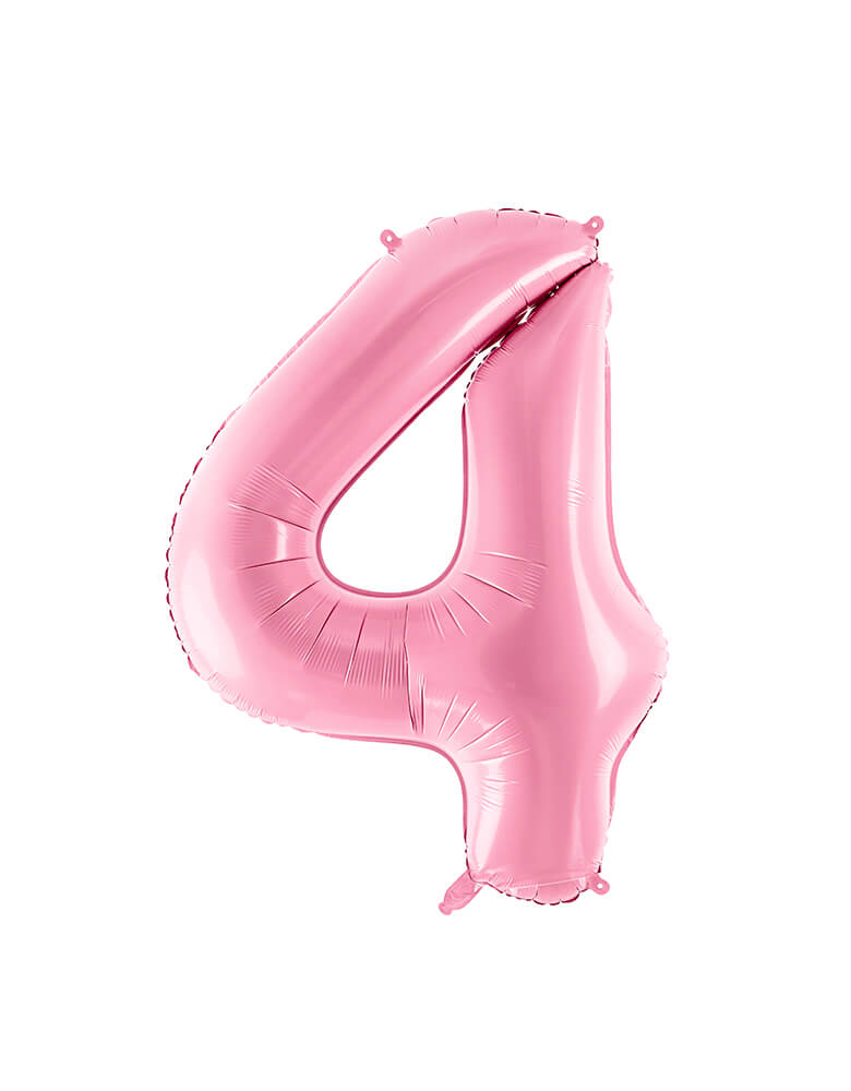 Party Deco - 34 inch - Large Number Pastel Pink Foil Mylar Balloon - Number 4 balloon