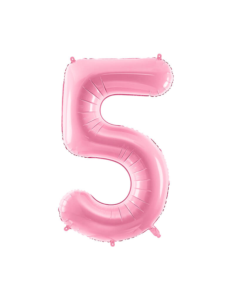 Party Deco - 34 inch - Large Number Pastel Pink Foil Mylar Balloon - Number 5 balloon