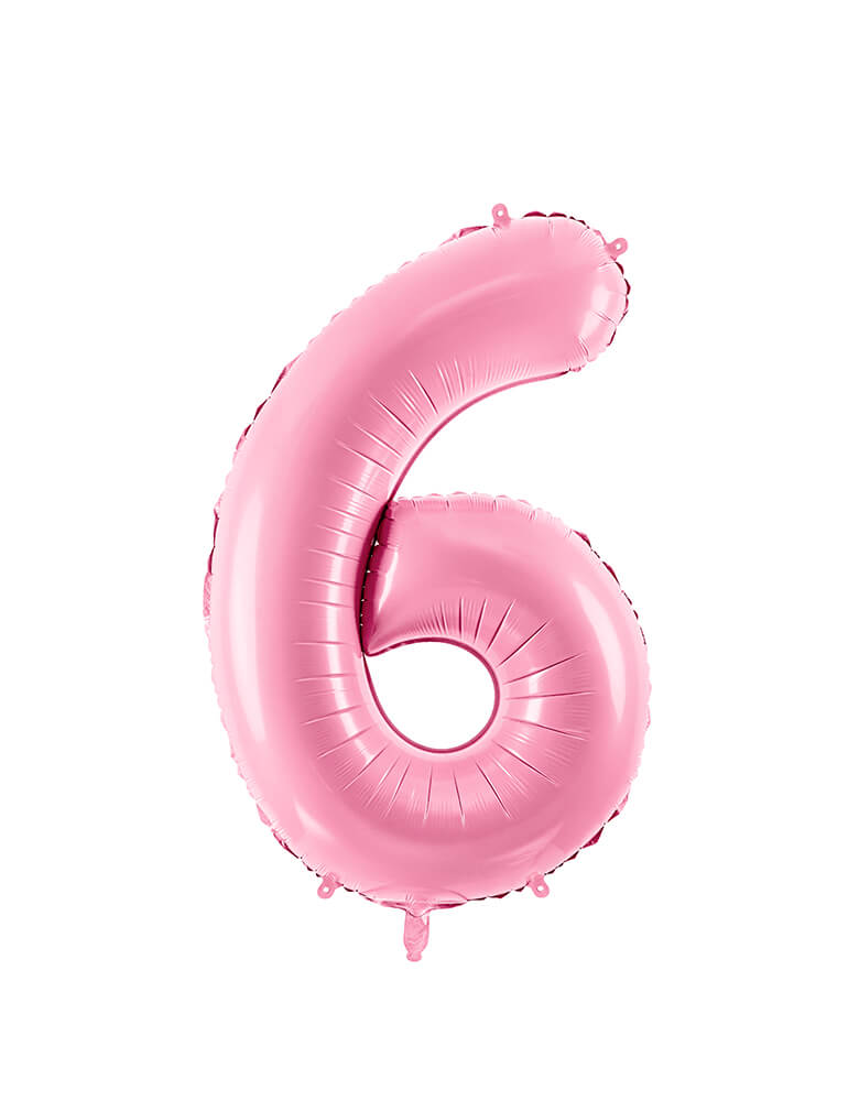Party Deco - 34 inch - Large Number Pastel Pink Foil Mylar Balloon - Number 6 balloon
