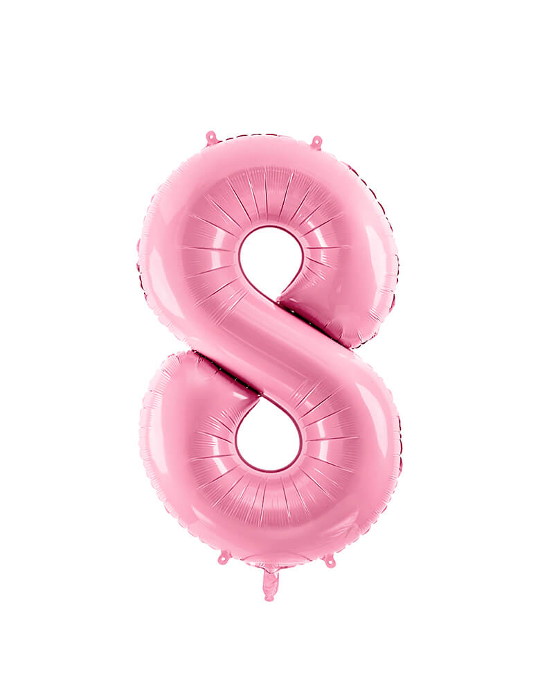 Party Deco - 34 inch - Large Number Pastel Pink Foil Mylar Balloon - Number 8 balloon