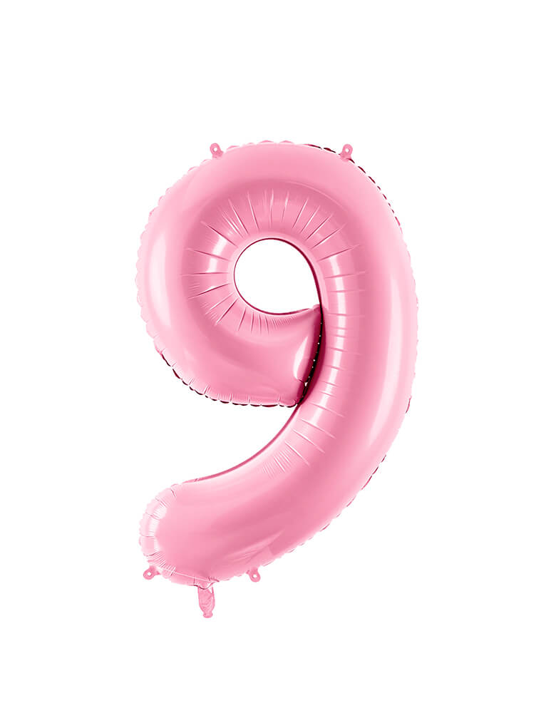 Party Deco - 34 inch - Large Number Pastel Pink Foil Mylar Balloon - Number 9 balloon