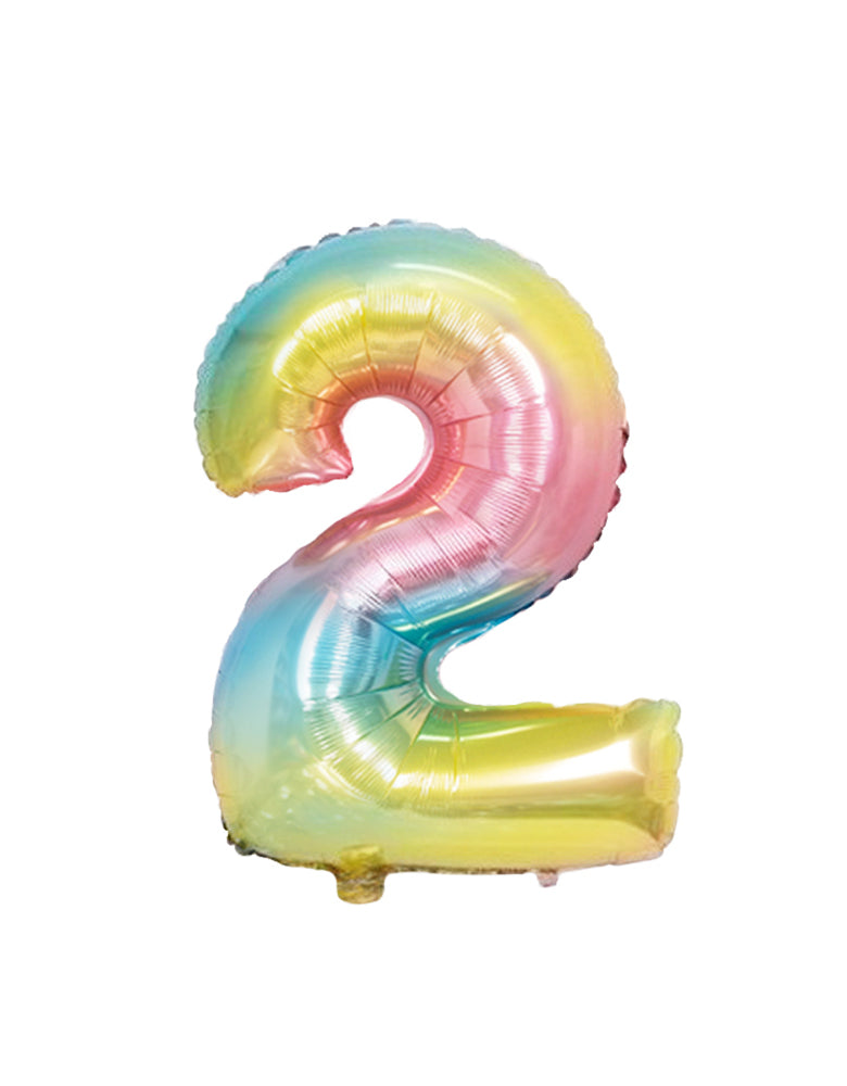 Large Number Pastel Rainbow Ombre Foil Mylar Balloon number 2