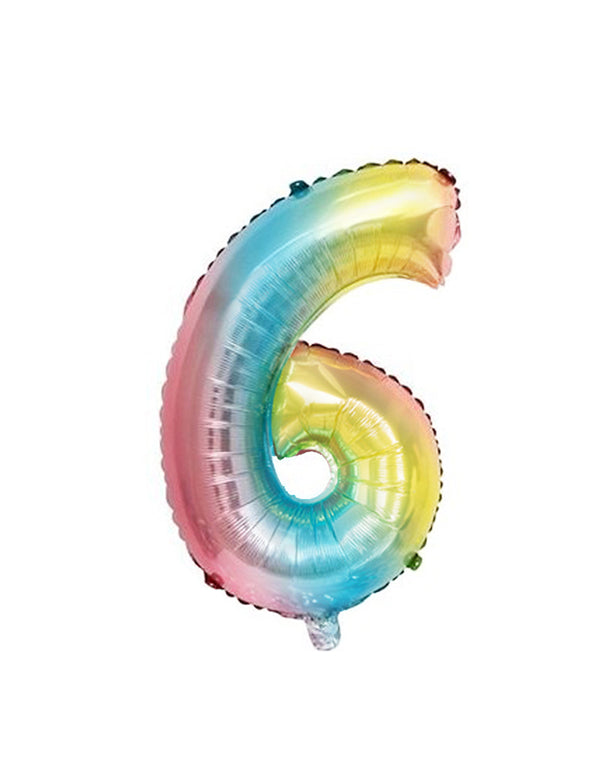 Large Number Pastel Rainbow Ombre Foil Mylar Balloon number 6