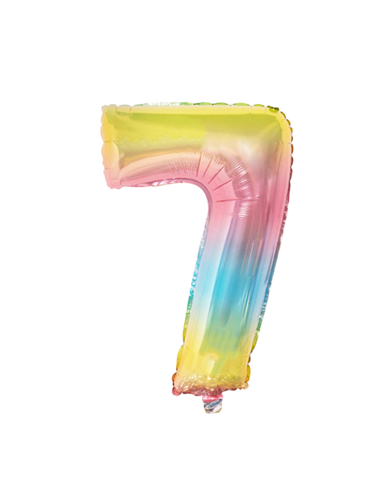 Large Number Pastel Rainbow Ombre Foil Mylar Balloon number 7