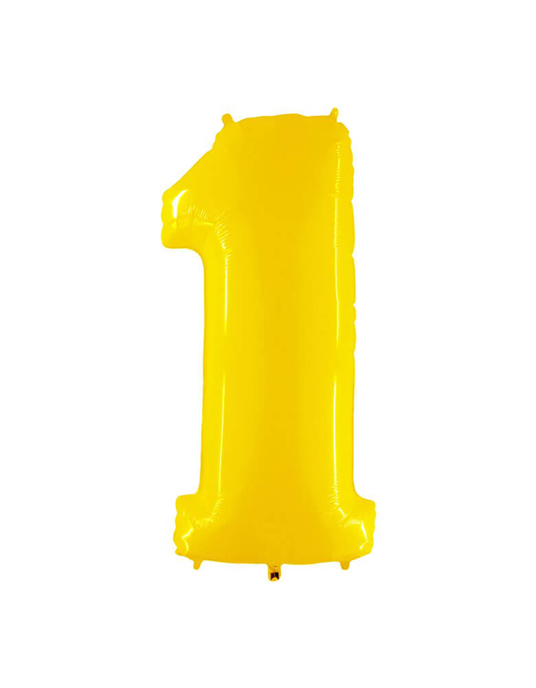 "large 40"" Party Brands Number 1 - Yellow foil mylar number balloon.  These huge balloons are great for bouquets, photo backdrops, on the top of balloon columns, incorporated into a balloon arches and more."