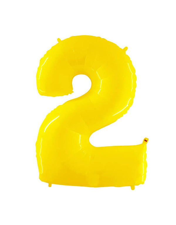 "Party Brands Large 40""  Yellow foil mylar number balloon Number 2. These huge balloons are great for bouquets, photo backdrops, on the top of balloon columns, incorporated into a balloon arches and more."