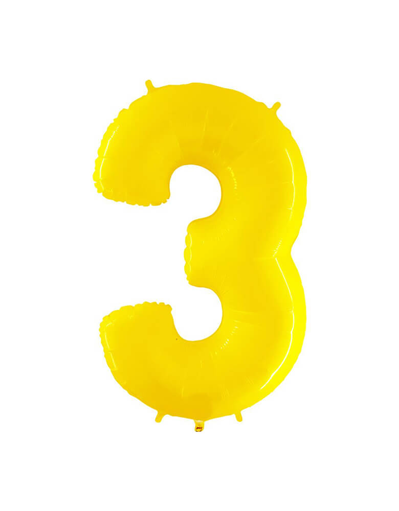 "Party Brands Large 40""  Yellow foil mylar number balloon Number 3. These huge balloons are great for bouquets, photo backdrops, on the top of balloon columns, incorporated into a balloon arches and more. t's perfect for a superhero or Pokemon themed birthday!"