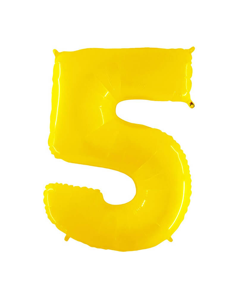 "Party Brands Large 40"" Bright Yellow foil mylar number balloon Number 5. These huge balloons are great for bouquets, photo backdrops, on the top of balloon columns, incorporated into a balloon arches and more. t's perfect for a superhero or Pokemon themed birthday!"