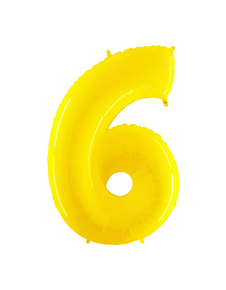 "Party Brands Large 40"" Bright Yellow foil mylar number balloon Number 6. These huge balloons are great for bouquets, photo backdrops, on the top of balloon columns, incorporated into a balloon arches and more. t's perfect for a superhero or Pokemon themed birthday!"