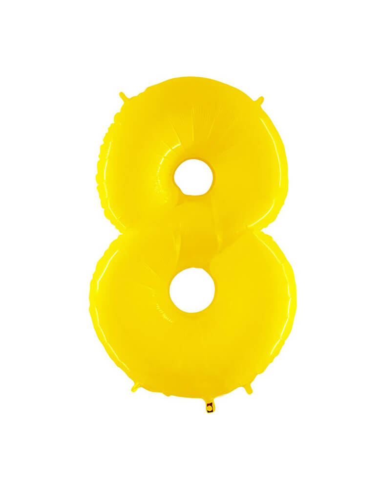 "Party Brands Large 40"" Bright Yellow foil mylar number balloon Number 8. These huge balloons are great for bouquets, photo backdrops, on the top of balloon columns, incorporated into a balloon arches and more. t's perfect for a superhero or Pokemon themed birthday!"