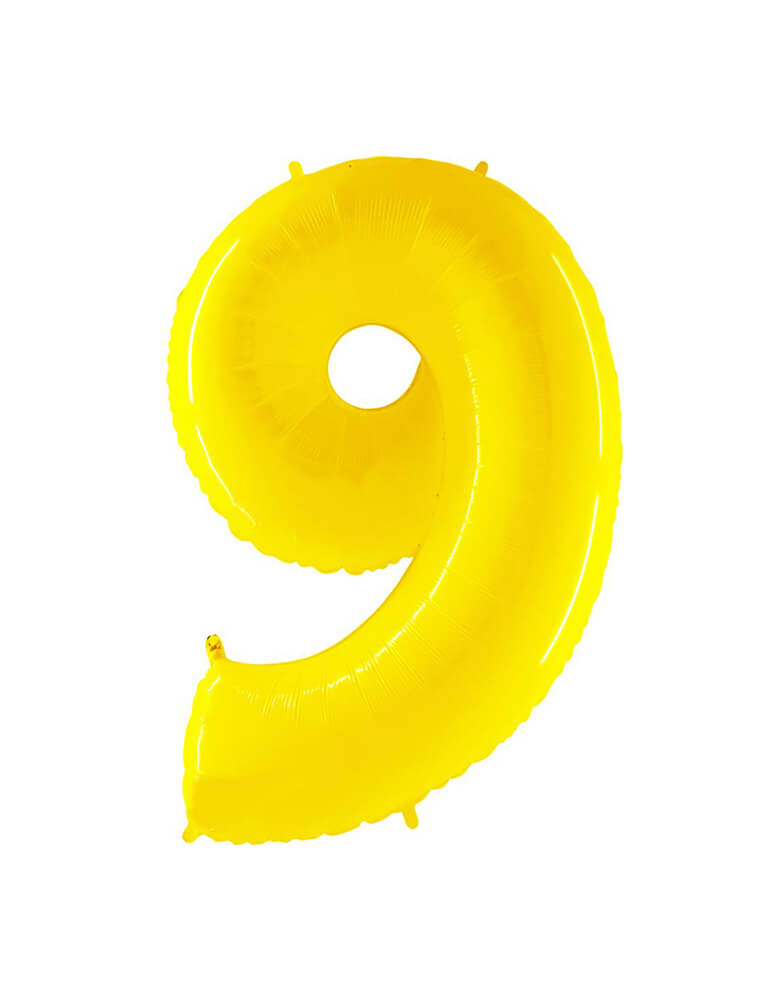 "Party Brands Large 40"" Bright Yellow foil mylar number balloon Number 9. These huge balloons are great for bouquets, photo backdrops, on the top of balloon columns, incorporated into a balloon arches and more. t's perfect for a superhero or Pokemon themed birthday!"