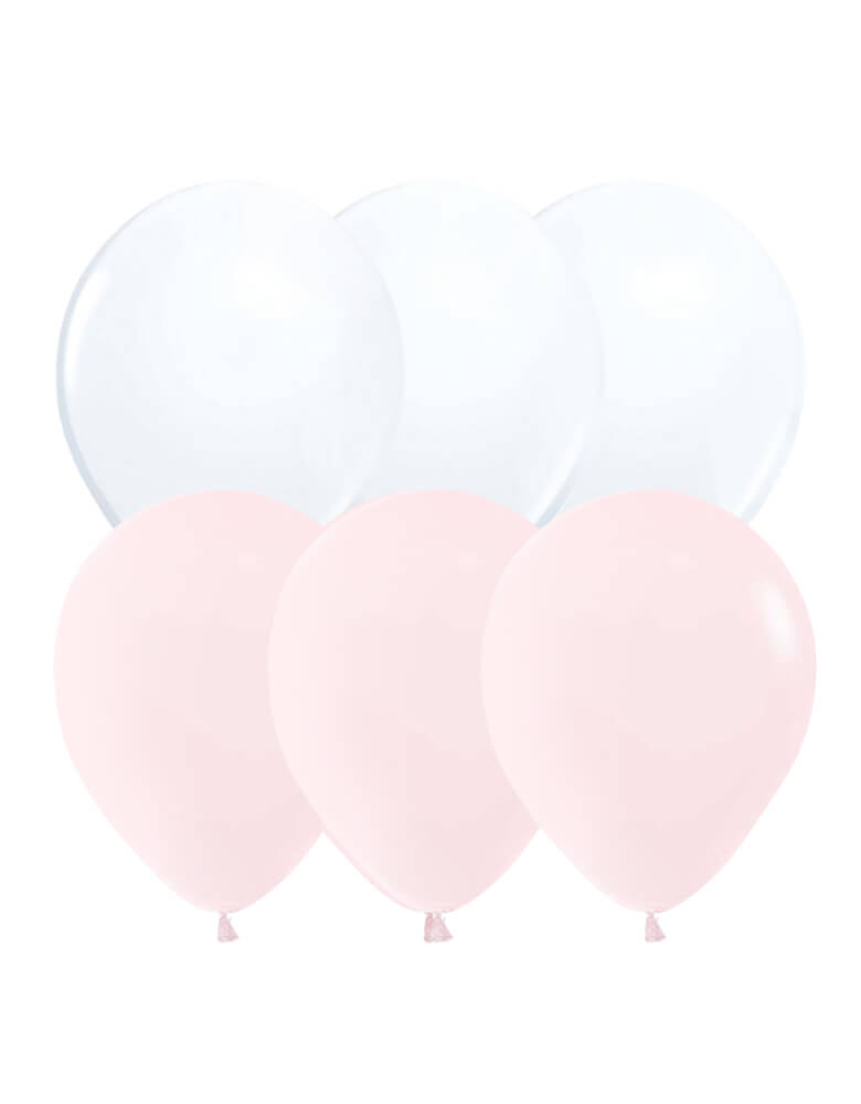 Fa-La-La-pink-themed Holiday Balloon Mix, Set of 12, including 8 pastel matte pink balloons and 4 white balloons