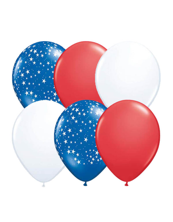 12 of Latex Balloon Mix including 4 of each white, red, and blue stars all-around balloons for memorial day celebration, 4th of July celebration