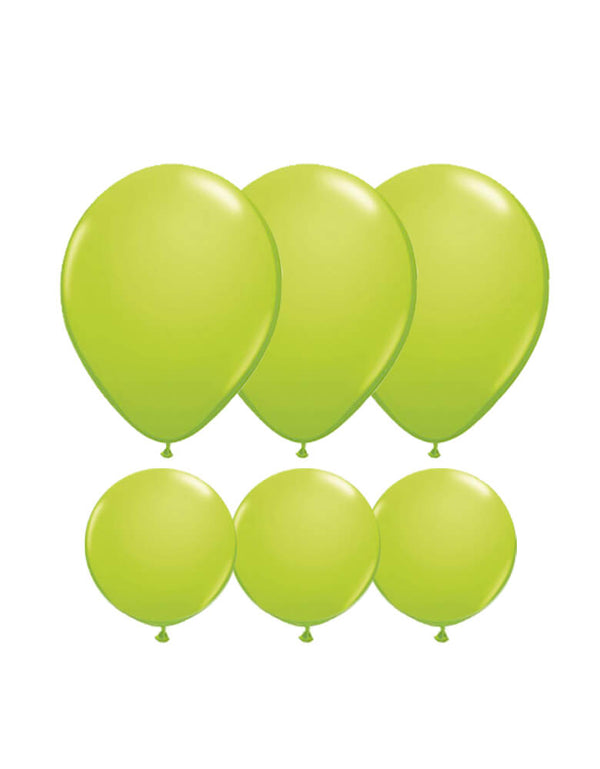Set of 12 Qualatex Latex Balloon Mix including six 11-inch lime green balloons and six 5-inch lime green balloons
