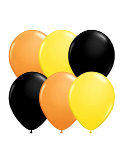 Set of 12 Qualatex Latex Balloon Mix including 4 of each orange, black and yellow balloons