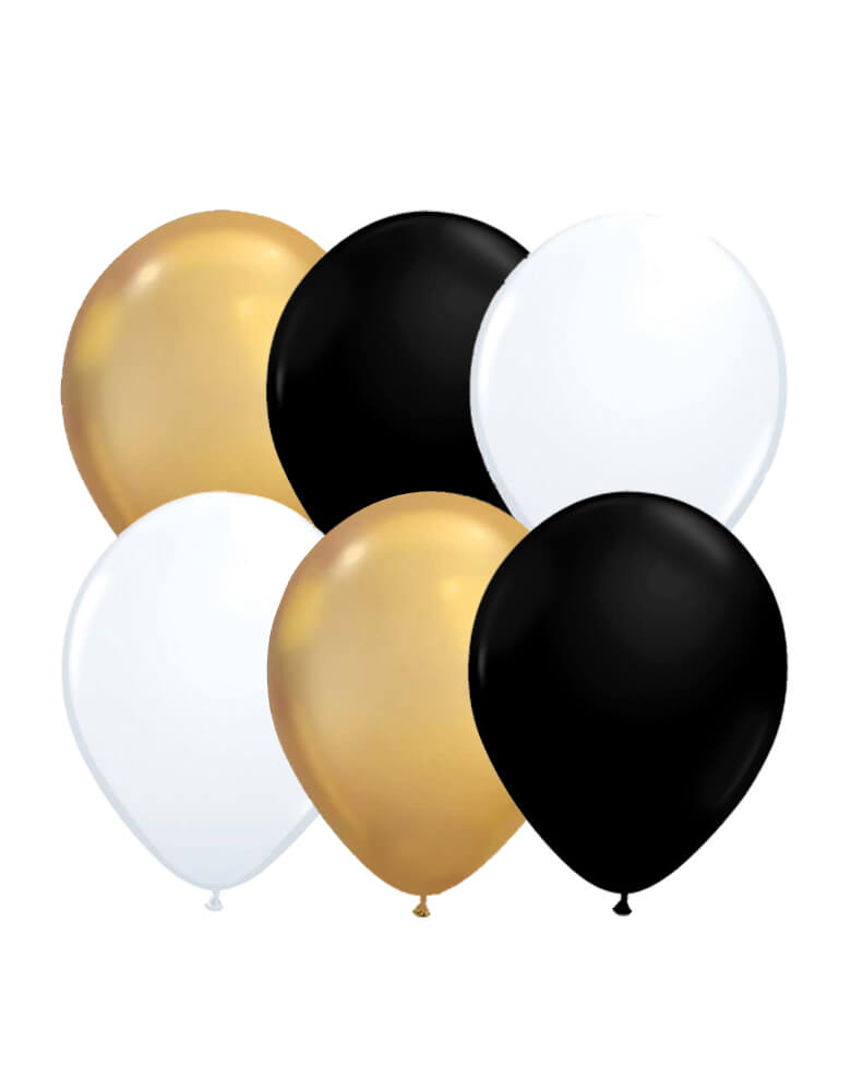 Latex Balloon Mix including 4 of each chrome gold, black and white balloons for Graduation party, new year party