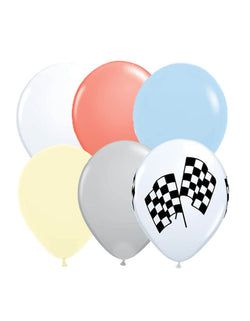 "Qualatex 11"" Latex Balloon Mix with matte blue, matte yellow, Grey, Coral, White, Flag patten latex balloons for Race Car themed birthday party"