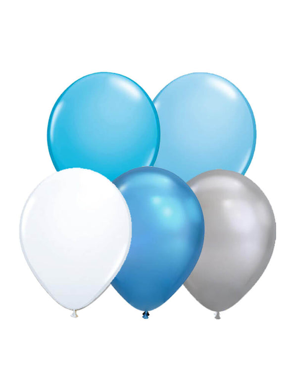 "Qualatex 11"" Latex Balloon Mix of blue, pale blue, white, chrome silver and chrome blue for a shark or under the sea party"