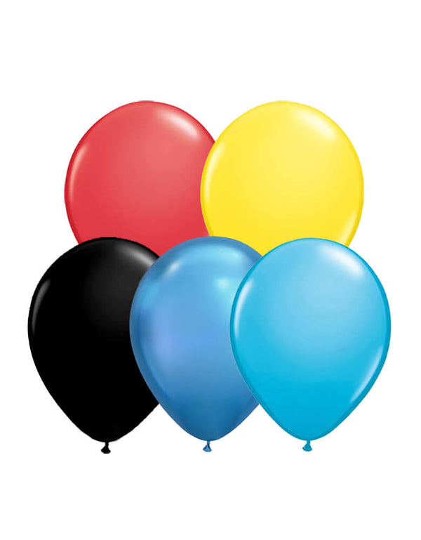 Set of 12 Qualatex Latex Balloon Mix including 3 of each red and yellow balloons; 2 of each chrome blue, robin's egg blue, and black balloons