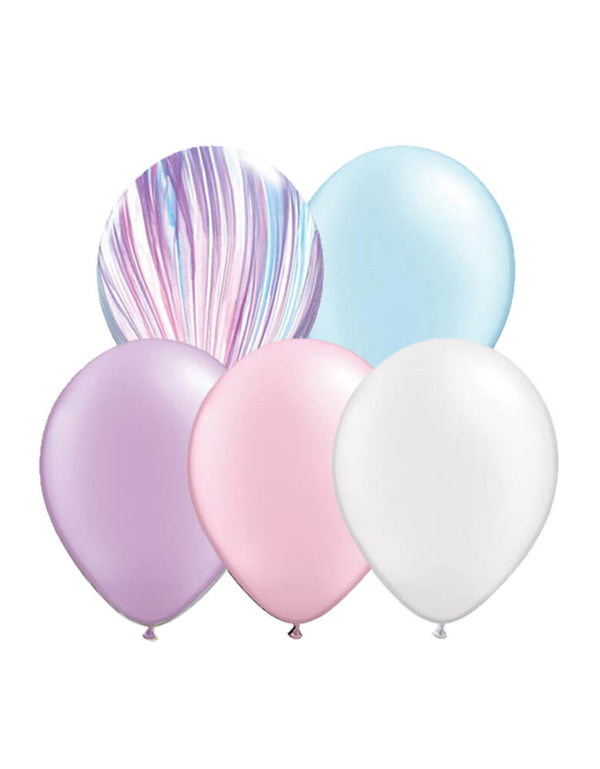 "Qualatex 11"" latex balloon mix of pearl blue, pearl pink, pearl purple, pearl white and fashion agate balloons for a unicorn themed party"
