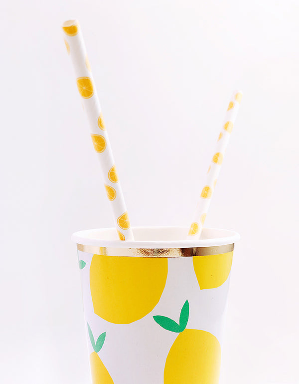 Lemon Party Paper Cup with Lemon Straws
