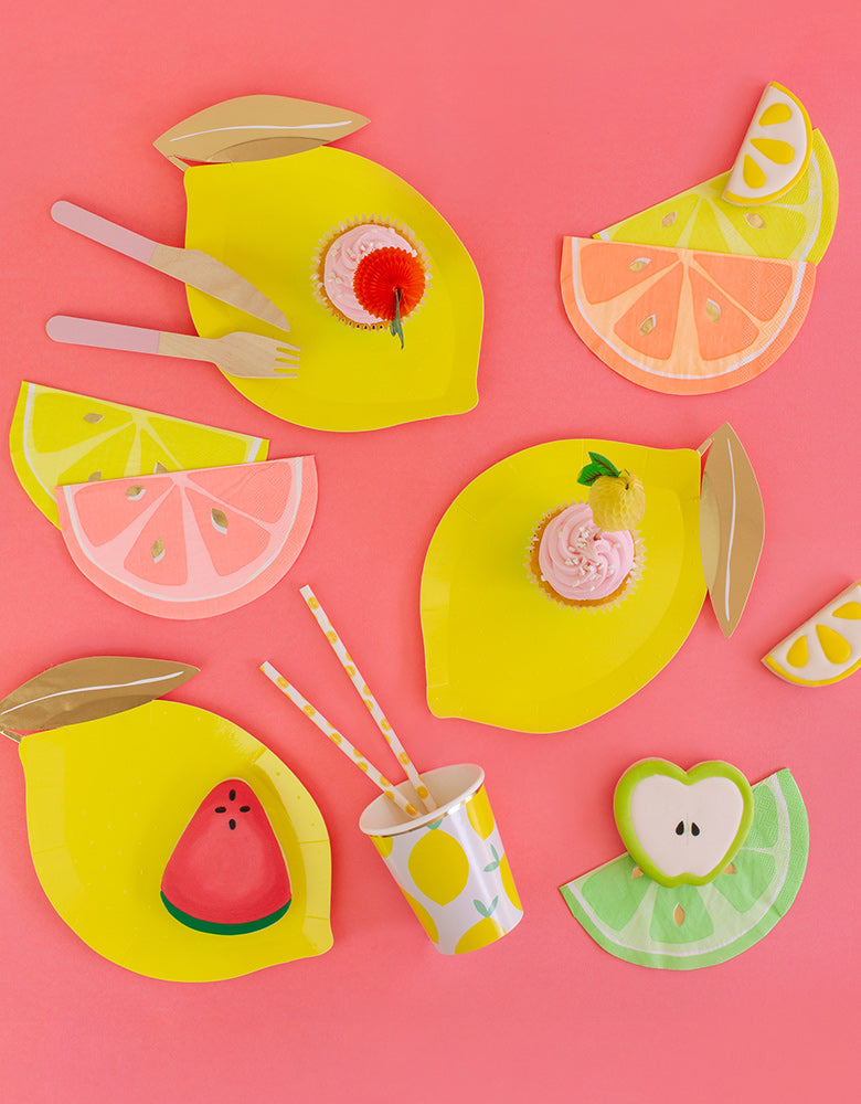 Lemon Shaped Party Paper Plates with Napkins and Lemon Cup and Cookies
