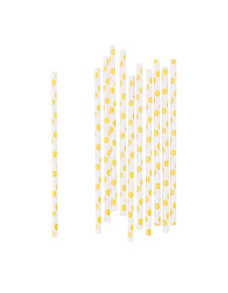 Party Paper Straws with Lemon Patterns