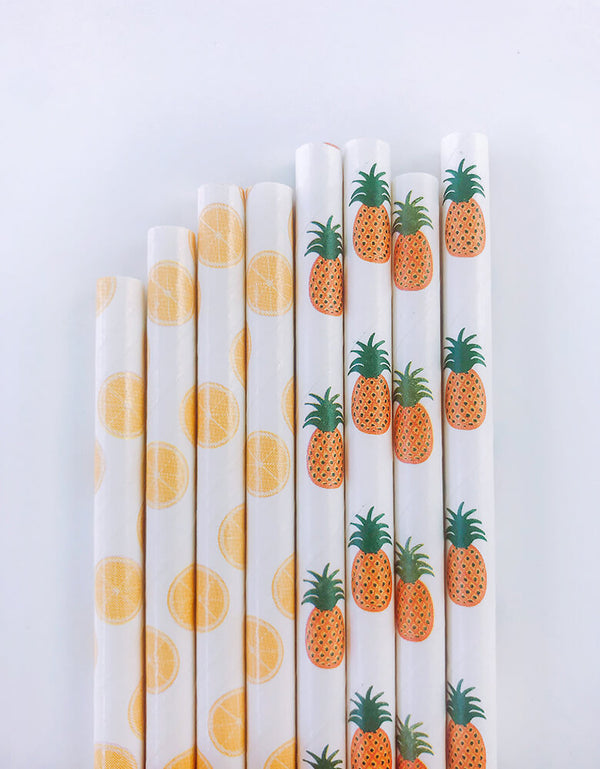 eco-friendly Lemon and Pineapple patten Party paper Straws
