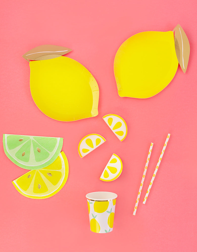 Lemon Shaped Party Paper Plates with Napkins and Lemon Cups as lemonade Party