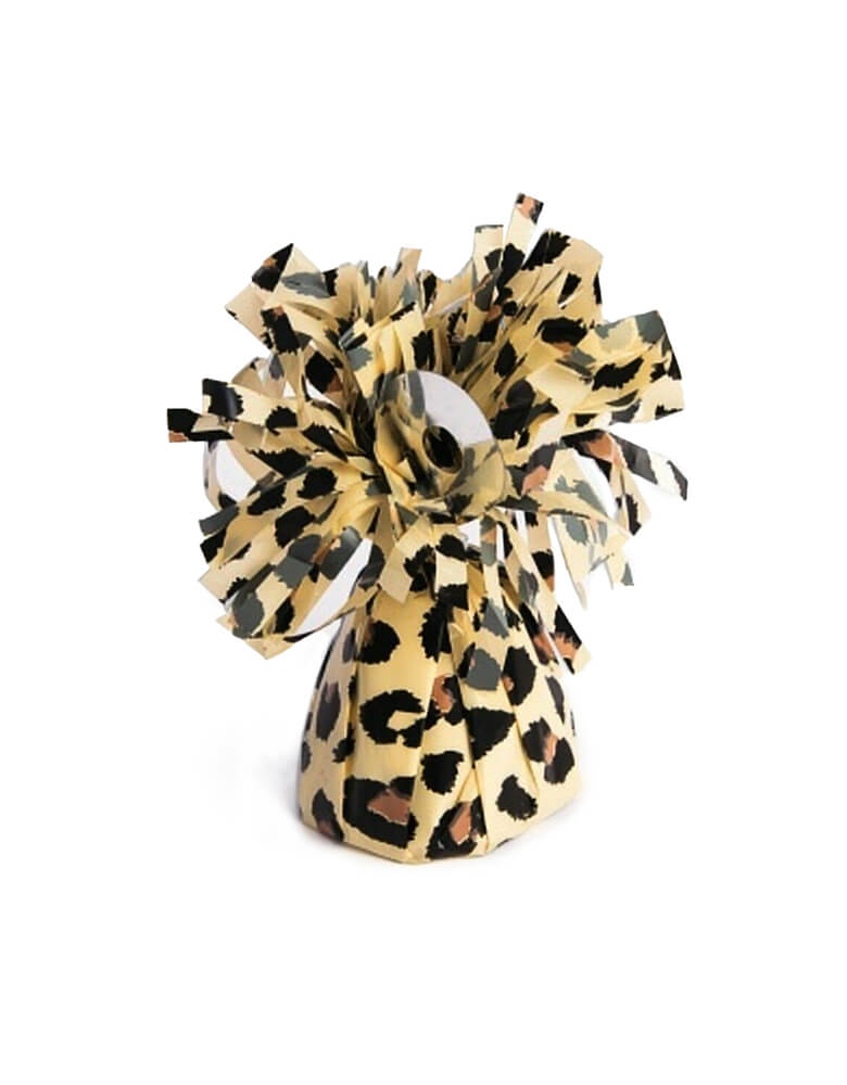 "Forum Novelties ""Leopard Print"" Party Small Balloon Weight with Fringe wrap design, Capable of securing up to 15 - 11"" latex latex or 12 foil helium filled balloons, great for balloon bouquets. Features an attached plastic tab that comes up from the middle of weight to tie your balloon ribbons on to. This balloon weight makes a great party table centerpiece for safari animal themed birthdays and zoo themed birthday party, wild one birthday party"