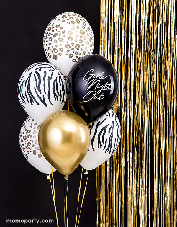 "balloon bouquet of Party Deco Leopard Print Latex Balloon, zebra print latex balloon, gold latex balloon, and black latex with ""girls night out"" text latex balloon, and gold fringe curtain behind the balloons"