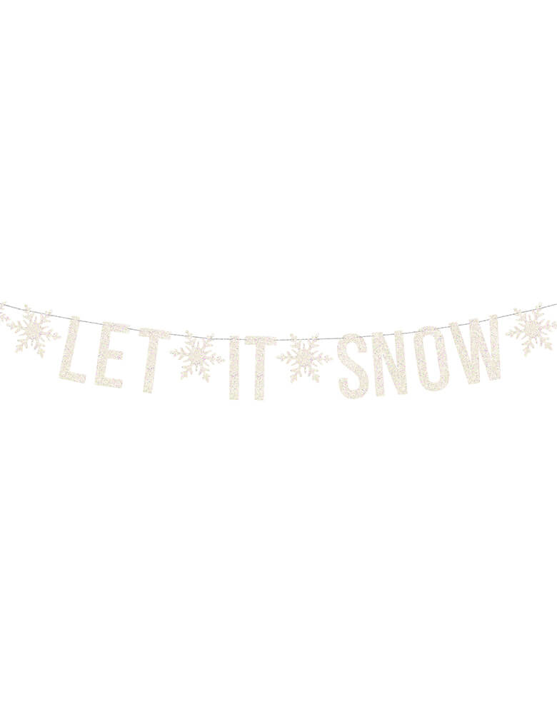 Party Deco Let It Snow Banner in white covered with glitters for a while Christmas party or a kids frozen themed party