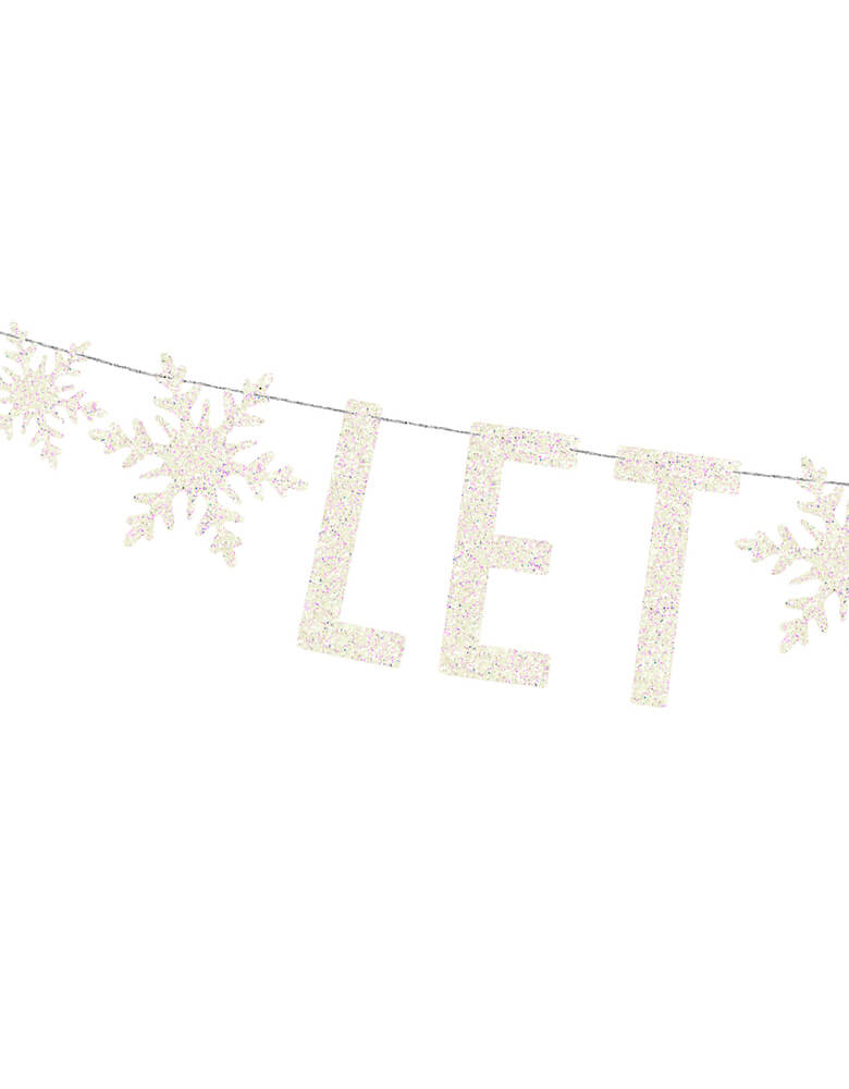 A close up shot of Party Deco Let It Snow Banner in white covered with glitters for a while Christmas party or a kids frozen themed party