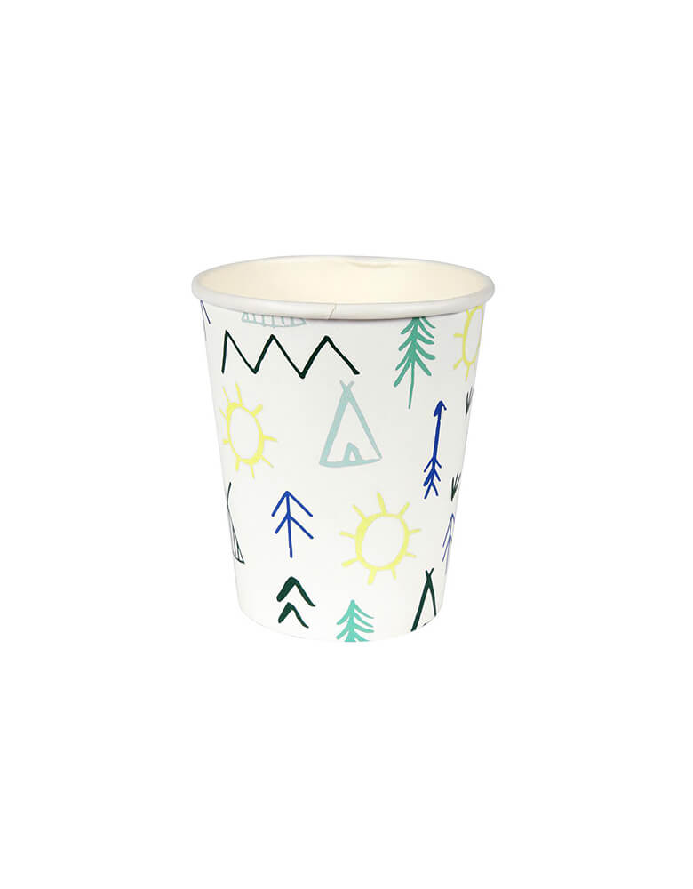 Meri Meri 9oz Let's Explore Party Cups with teepee trees sun designs