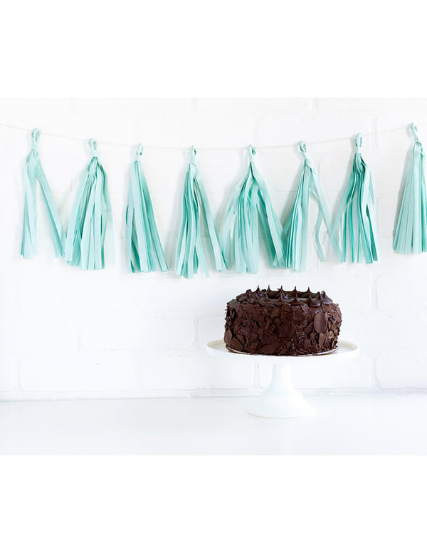 My Mind's Eye Light Blue Tassel Banner hung on a wall behind a chocolate cake