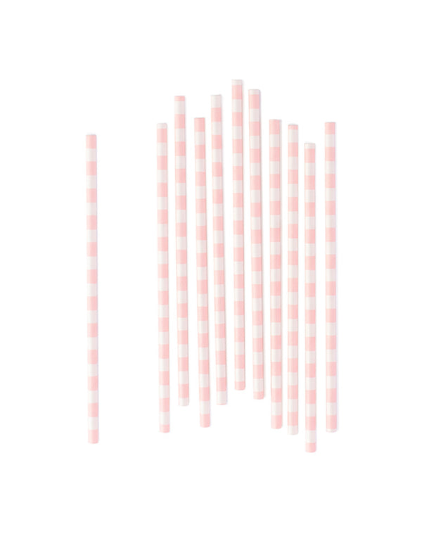 Pastel Light Pink Striped Party Straws