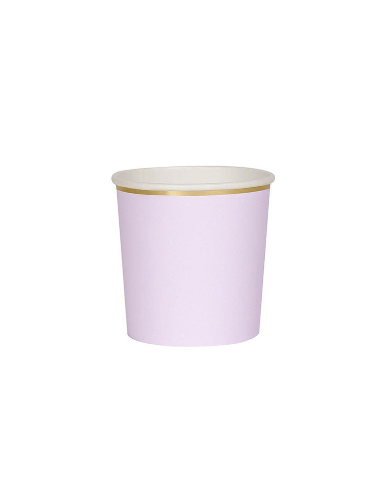 Meri Meri 8.8 oz capacity Lilac Tumbler Cups with Gold Foil Border