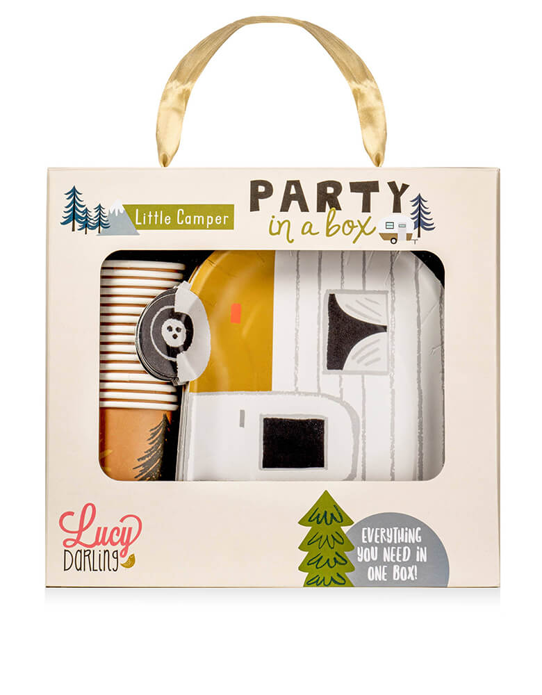 Lucy Darling Party Goods, Little-Camper-Party-in-a-Box in its package. With this camping themed party in a box, most everything you will need is all in one box! From paper plates, paper cups, to cake toppers, to banners, you'll find it all right here. This is a perfect party set for kids camping themed birthday, bear themed birthday, woodland themed birthday or any even for a camping lover