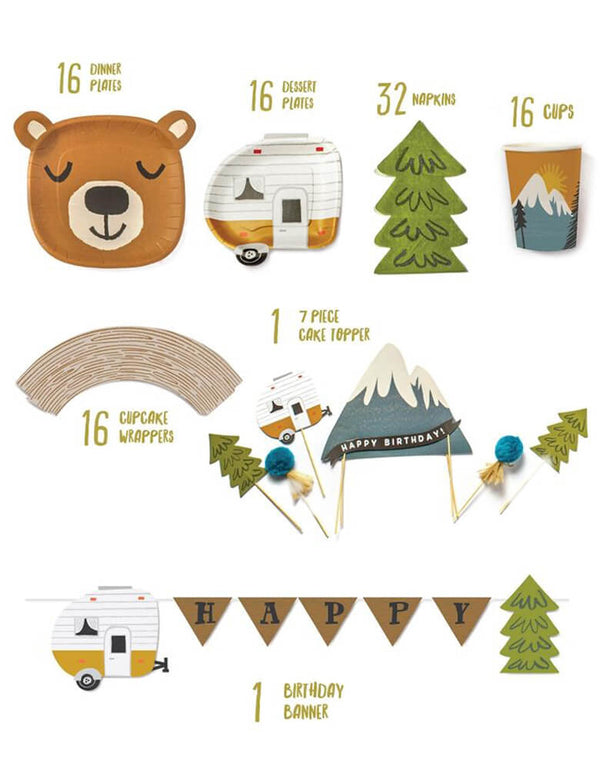 "Lucy Darling Little Camper - Party in a Box List including 16 Brown Bear shaped dinner plates, 16 camper shaped dessert plates, 32 tree shaped napkins, 16 party cups with camping mountain view illustration, 16 Wood Grain Cupcake Wrappers, 1 cake topper set with 7 camping themed design of happy birthday sign on the snow mountain, camper, trees, and pom poms, 1 birthday banner with Brown flag of sign ""HAPPY"" in the middle, little camper and tress on the side. party set for kids camping themed birthday"