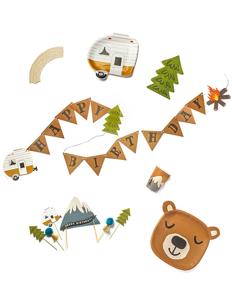 "Lucy Darling Little Camper - Party in a Box List including Brown Bear shaped dinner plates, camper shaped dessert plates, tree shaped napkins, party cups with camping mountain view illustration, Wood Grain Cupcake Wrappers, cake topper set with camping themed design of happy birthday sign on the snow mountain, camper, trees, and pom poms, a birthday banner with Brown flag of sign ""HAPPY"" in the middle, little camper and tress on the side. party set for kids camping themed birthday"
