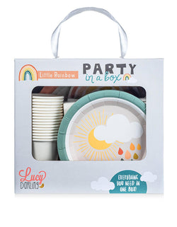 Lucy Darling Party Goods, Little-Rainbow_Party-in-a-Box in its package. With this rainbow themed party in a box, most everything you will need is all in one box! From paper plates, paper cups, to cake toppers, to banners, you'll find it all right here. This is a perfect party set for rainbow themed birthday, unicorn rainbow themed birthday, or any even for a magical rainbow lover