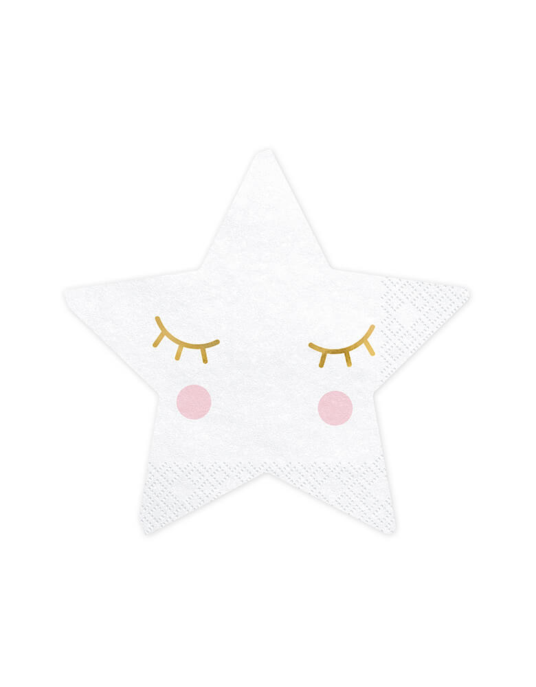 Party Deco 5-inch Little Star Napkin with closed eyes and blush design